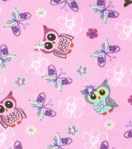 Nursery Fabric- Pink Owls Flannel