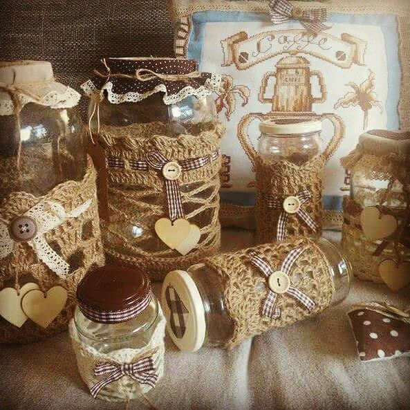 Collection of jars with vintage look I made for local hand-made fair