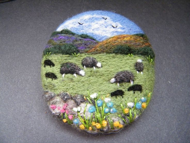 Handmade needle felted brooch/Gift 'Herdwick Meadow' by Tracey Dunn in Crafts, Hand-Crafted Items | eBay
