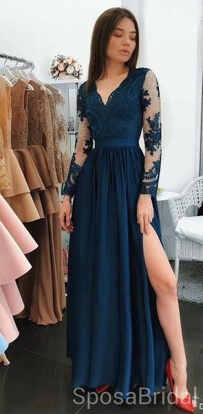 Cheap Long Sleeves Navy Blue Side Slit Modest V Neck Elegant Prom Dresses, Evening Dresses, PD1273 Cheap Long Sleeves Navy Blue Side Slit Modest V Neck Elegant Prom Dresses, Evening Dresses, PD1273