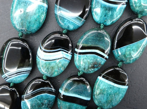 Teal Green & Black Agate Flat Oval 25x30mm Designer by CGPGemBeads