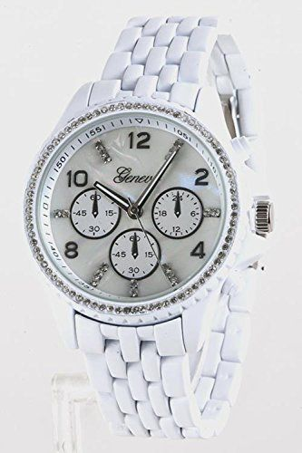 Chic Chelsea Crystal Bezel Fashion Watch White * Please continue read.