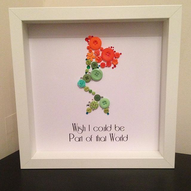 Ariel Button Picture. 9in x 9in white box frame. Can be personalised, colours…
