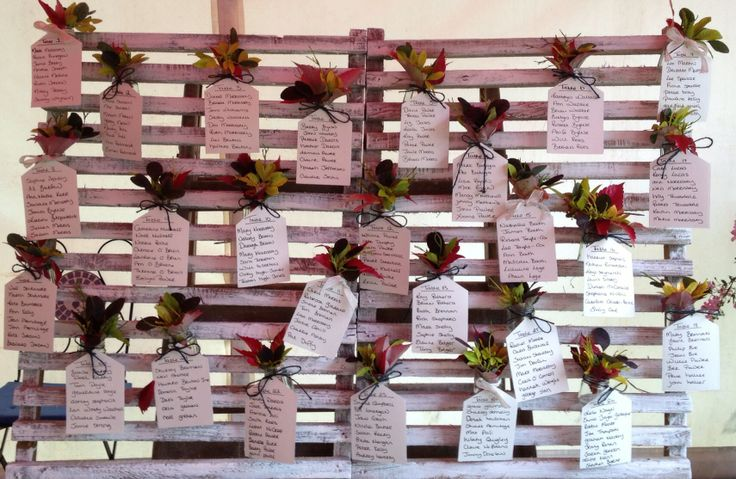 Table names on pallet.