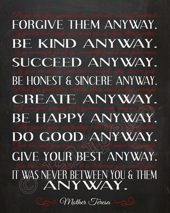 Mother Teresa Do It Anyway Quote  INSTANT DOWNLOAD