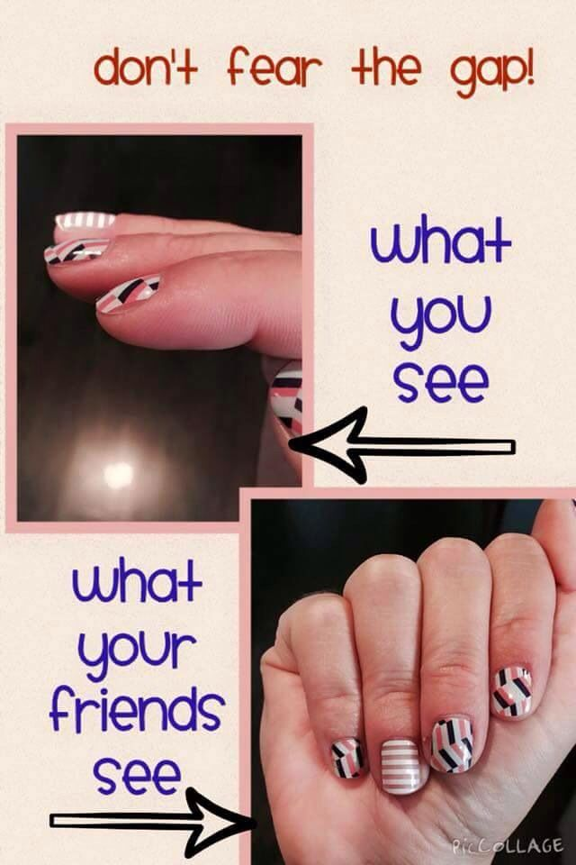 Don't fear the gap! It's best to have a little bit of a gap, to avoid your wraps adhering to skin or invisible cuticles.