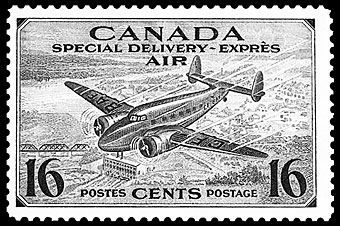 A Canadian 16¢airmail special delivery stamp (Scott CE1).
