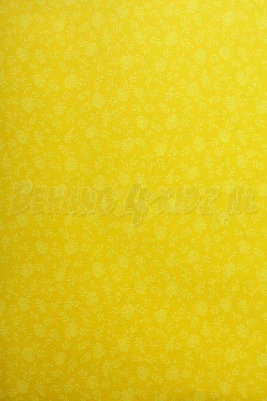 Behang, geel met bloemmotief