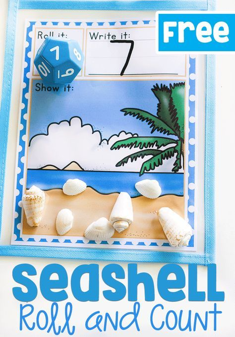 This free printable math game for kindergarteners is a great way to introduce numbers and counting skills! Count the seashells with this simple roll and count math activity.