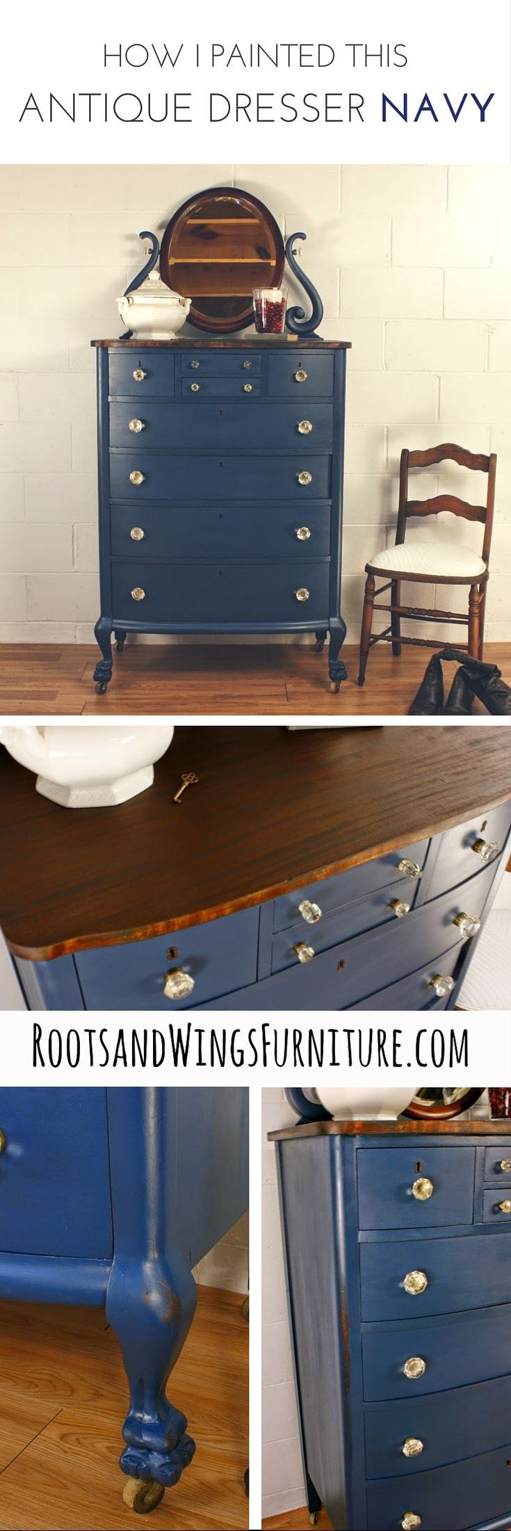 Antique Navy Blue Chest of Drawers