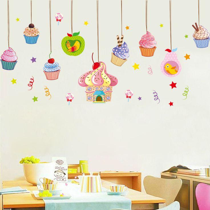 Ice Cream Cake Shop Wall Sticker Childrenu0027s Room Nursery Baby Room  Background Wall Decoration Dessert Corner Part 74