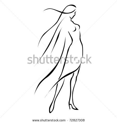 black line woman in wind by schwarzhana, via ShutterStock