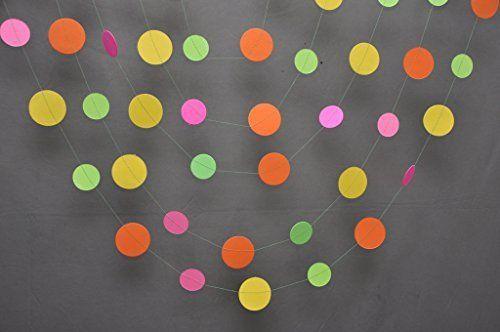 Néon, décorations, decor, fête d'anniversaire rose orange jaune vert néon, guirlande décoration d'été, décoration chambre d'enfant: Néon…