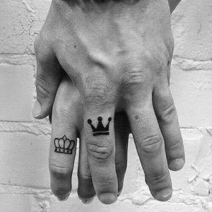 Small King and Queen Finger Tattoos for Couples