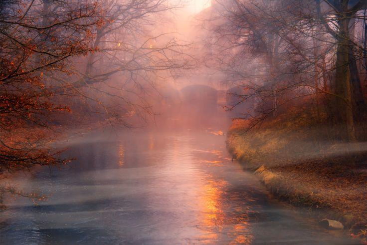 de amanecida - al amanecer y con los primeros rayos de sol, la niebla se tinie de rojo, tan solo por unos segundos, todo el entorno se empapa de magia.