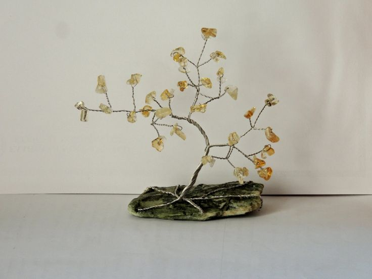 13th Anniversary gift, Citrine gemstone wire tree, Tree of life, Bonsai metal tree, November birthstone gift, zodiac stone for Sagittarius by AbssOluto on Etsy