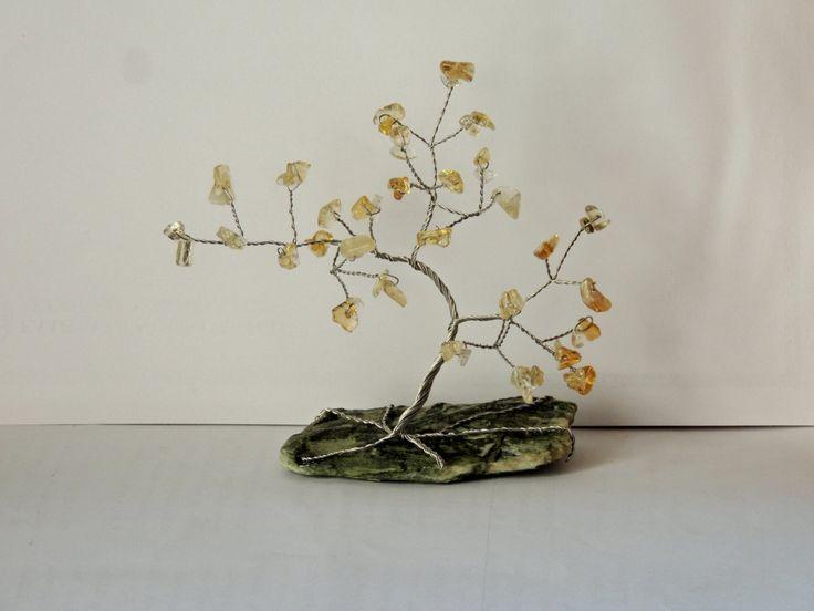 13th Anniversary gift, Citrine gemstone wire tree, Tree of life, Bonsai metal tree, November birthstone gift, zodiac stone for Sagittarius by AbssOluto on Etsy