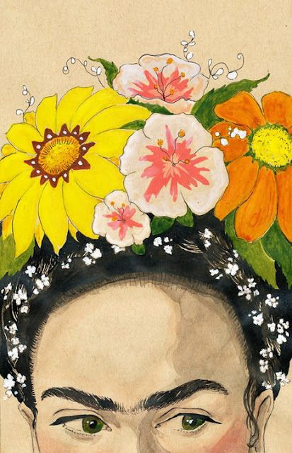 Frieda Kahlo, by Tara Jacoby  We love strong women. And big flowers.
