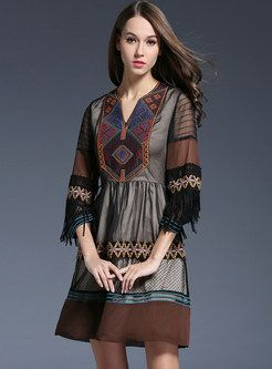 Embroidery Tassels Patch Dress