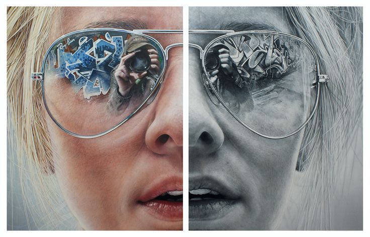 Simon Hennessey's striking paintings are perceived as a reflection of reality but in truth the artwork transcends into its own abstraction of reality........   I love the mirroring in the glasses ♥ ♥