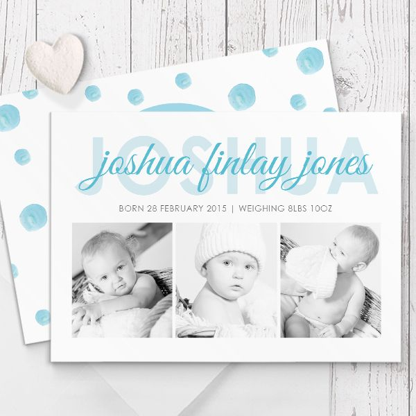 Photo Birth Announcement / Baby Thank You card printed on beautiful, quality double sided cardstock by Peach Perfect Australia