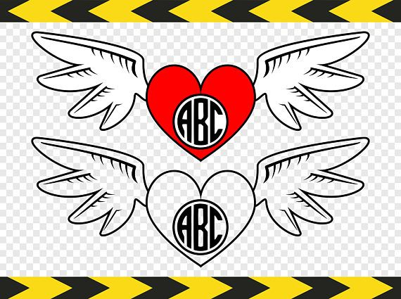 Monogram decal Svg Heart with angel wings Files for Cricut