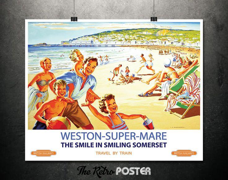 Weston-Super-Mare - Somerset - British Railways - Railway Prints, British Railway Posters, Travel Poster England, Beach Art Print, Coast Art by TheRetroPoster on Etsy