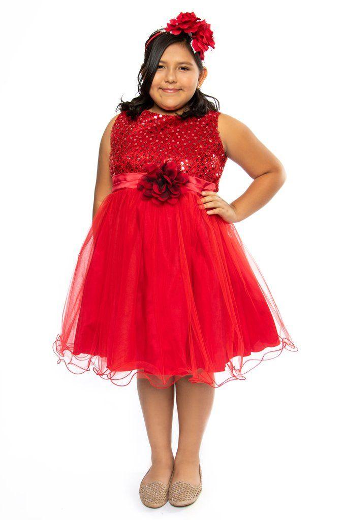 ce32337806c Girls Plus Size Red Sequin Party Dress w. Lettuce Tulle Hem KD305