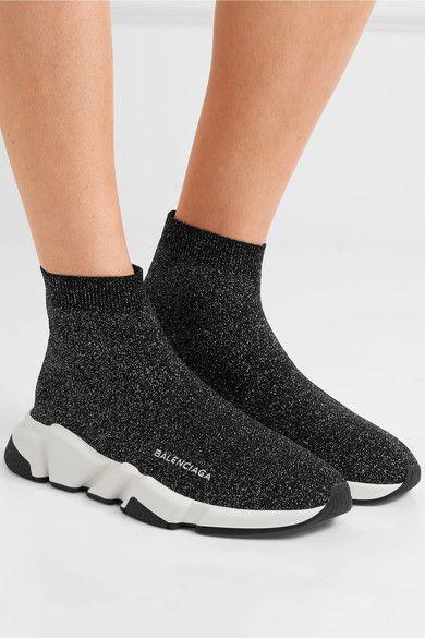 Speed Metallic Stretch-knit High-top