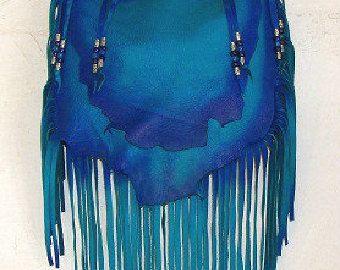 Designer Leather Purse Fringe Handbag Artisan Hippie by dleather