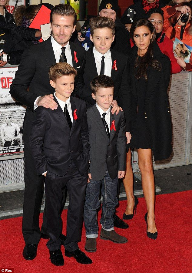 Family time: David was supported by his wife Victoria and sons Brooklyn, Romeo and Cruz at the The Class of '92 premiere in London
