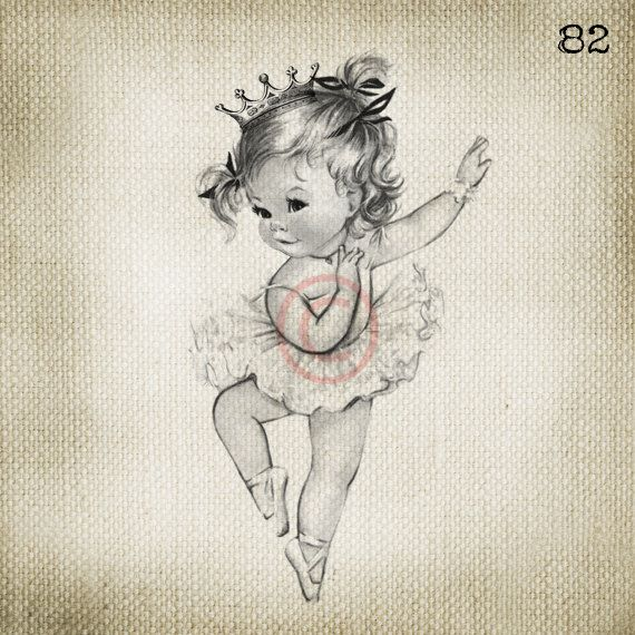 Vintage Baby Girl Princess Ballerina LARGE Digital Vintage by ptfy, $2.00