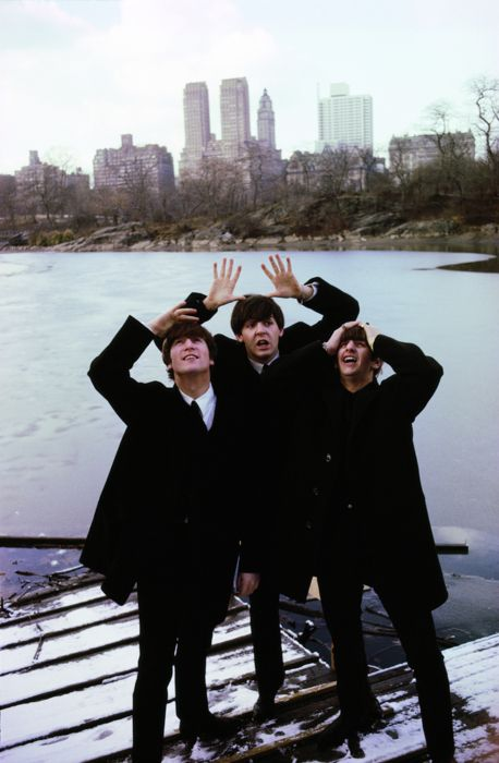 John Lennon, Paul McCartney, and Ringo Starr in Central Park, February 1964.    Photo by Ken Regan.