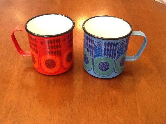 Kaj Franck Finel Enamel Rare Pair of Lintu Mugs on Etsy, $150.00