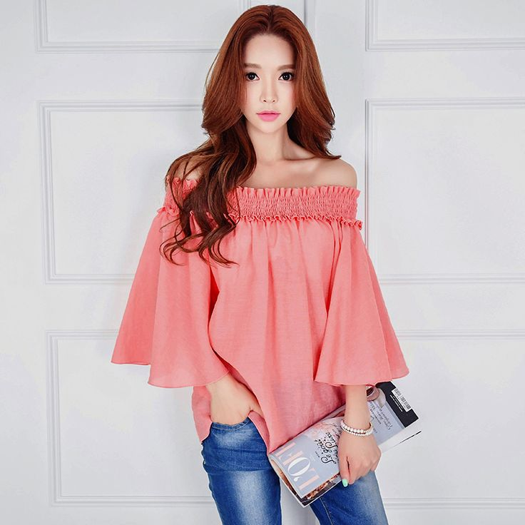 dabuwawa shirt female loose new 2017 autumn new big sizes sexy strapless flare sleeved casual solid blouses women pink doll