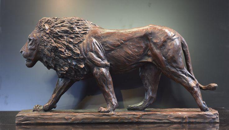 Dawn Patrol Macquette - Bronze Sculpture of a lion by Bruce Little
