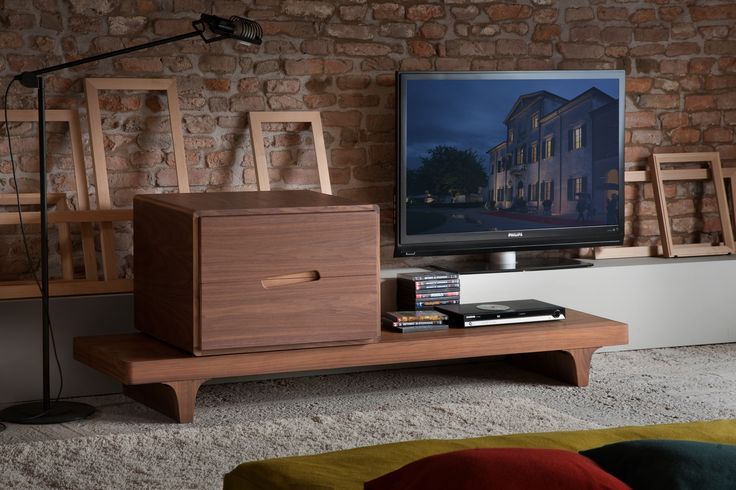 MALIBU' bedside table made of canaletto walnut wood with two drawers on metal runners. Design By MAAM