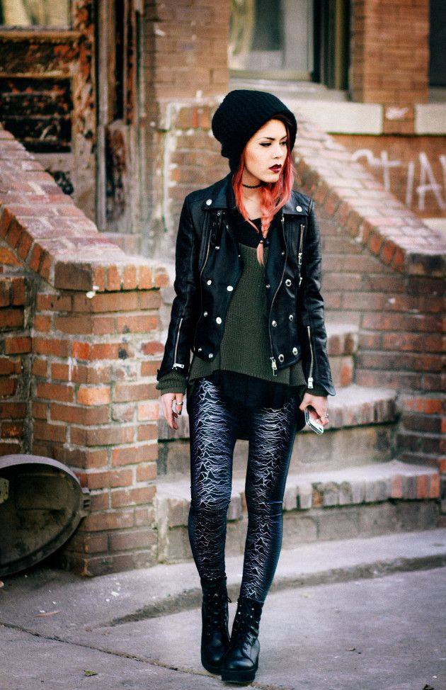 LOVE IT ALL. <3 Leather jacket, beanie, green sweater, edgy leather detailed leggings
