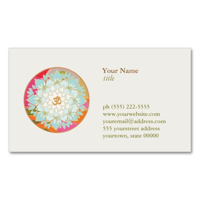The 2156 best yoga business cards images on pinterest business lotus flower logo om symbol health and wellness double sided standard business cards pack reheart Gallery