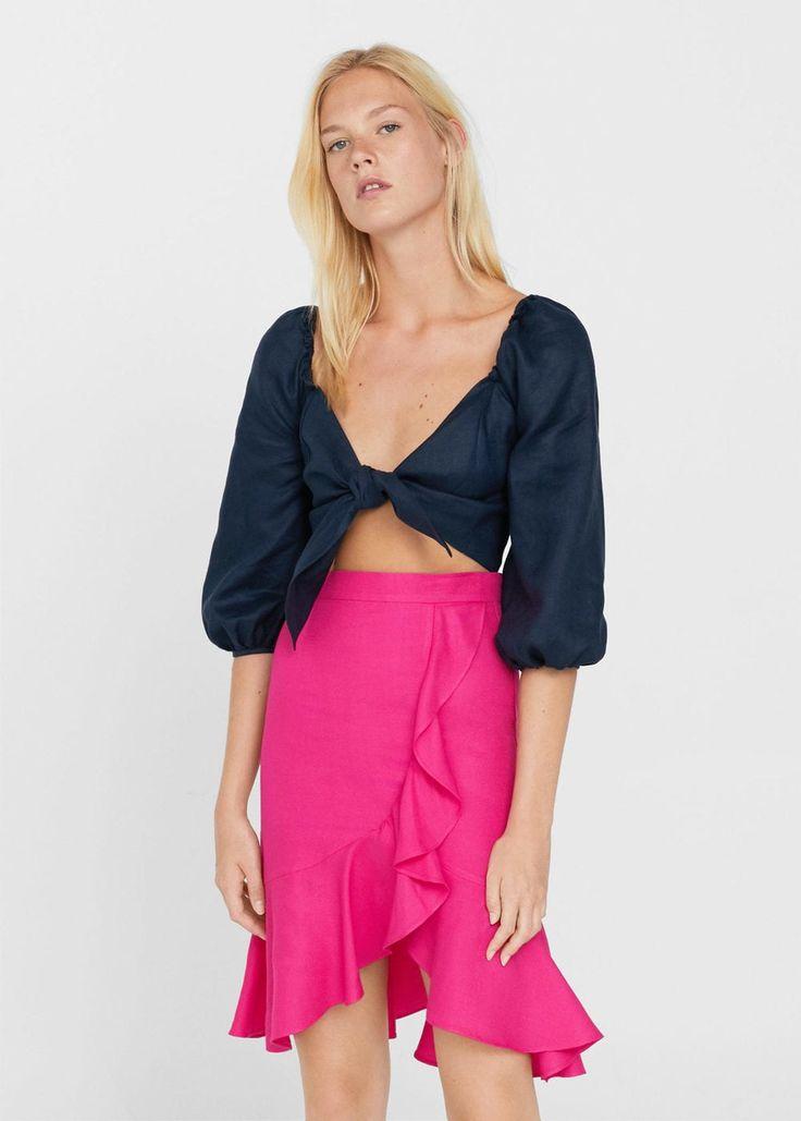 Ruffled linen-blend skirt | MANGO