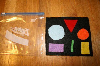 Mini felt boards with felt shapes- reversible white side.