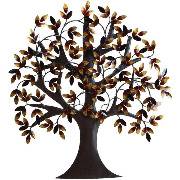 Studio 360 Tree Metal Wall Decor ($101) ❤ liked on Polyvore featuring home, home decor, wall art, brown, metal leaves wall art, leaf wall art, metal tree wall art, tree wall art and brown wall art