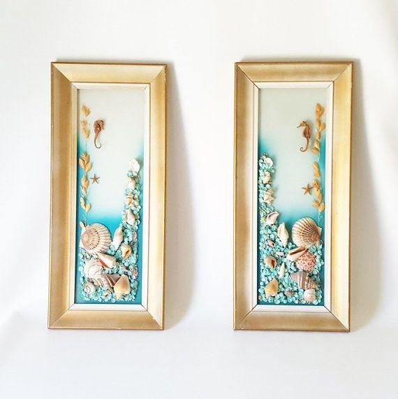 Vintage Beach Decor Gold Framed Painted Glass Seashell Art. Midcentury Framed Glass Decor Seashells Seahorses Beach House Coastal Decor