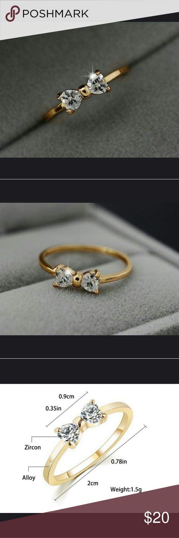 Bow design ring Ornate bow ring with zircon YITAU Jewelry Rings