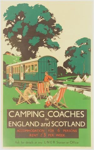 Vintage ad for Camping Coaches in England and Scotland