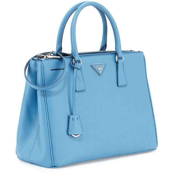 Prada Saffiano Lux Double-Zip Tote Bag ($2,390) ❤ liked on Polyvore featuring bags, handbags, tote bags, light blue tote, zippered tote bag, blue tote bag, zip top tote and light blue purse