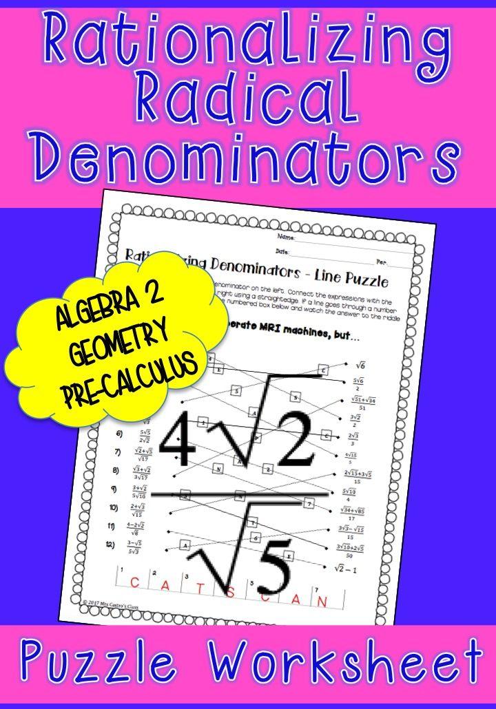 Rationalizing Denominators Line Puzzle Activity Denominator