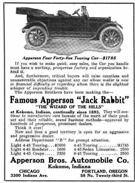1914 apperson  u0026quot jack rabbit u0026quot  automobile advertisement