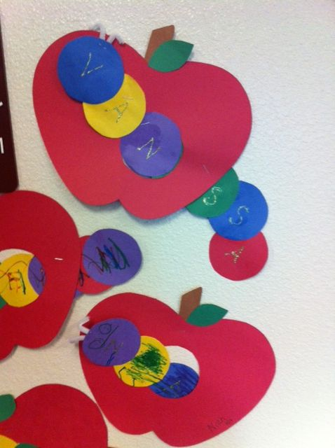 In our study of apples Pre-K made worms out of the students names and had them eat through the apple.