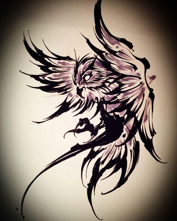style graphique + encre + j'aime Amsterdam TATTOO 1825 KIMIHITO  Owl brush stroke tattoo design
